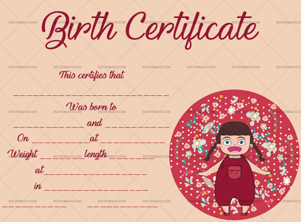 13 Birth Certificate Template Baby Girl Printable and Editable #4364