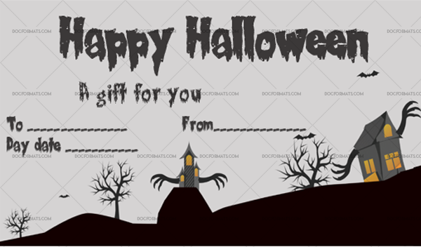 13 Halloween Gift Certificate Bats Fillable Gift Voucher #1035