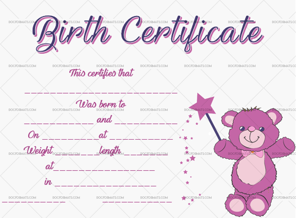 14 Birth Certificate Template Magic Bear Printable in Word #4365