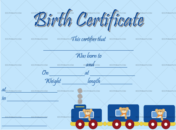 14 Birth Certificate Template Train Editable Certificate #4345
