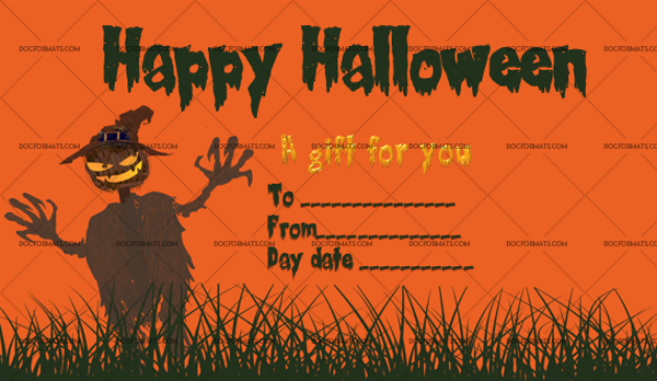 14 Halloween Gift Certificate Scarecrow Customize in Word #1036