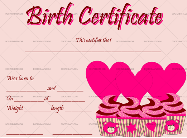 15 Birth Certificate Template Cupcake Fillable Template #4366