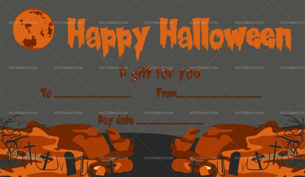 15 Halloween Gift Certificate Moon Printable Gift Voucher #1037