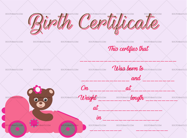 18 Birth Certificate Template Bear Car Editable Certificate #4369