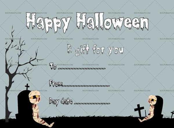 18 Halloween Gift Certificate Mummy Editable Gift Voucher #1040