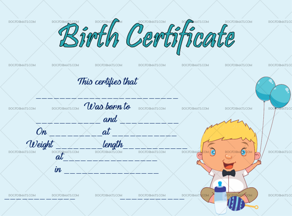 19 Birth Certificate Template Happy Baby Fillable Template #4350