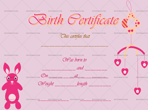 19 Birth Certificate Template Rabbit Blank Template #4370