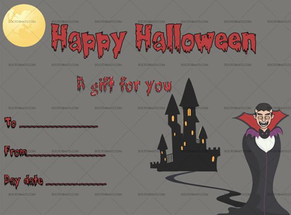 19 Halloween Gift Certificate Dracula Blank Gift Voucher #1041