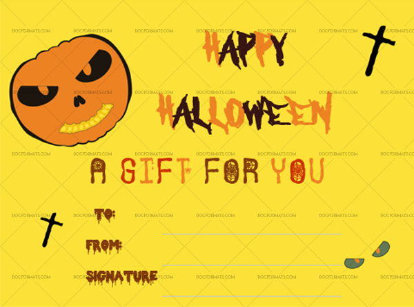 2 Halloween Gift Certificate Pumpkin Printable and Editable #1024