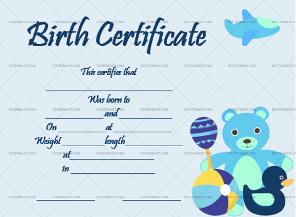 20 Birth Certificate Template Bear Toys Blank Design #4351