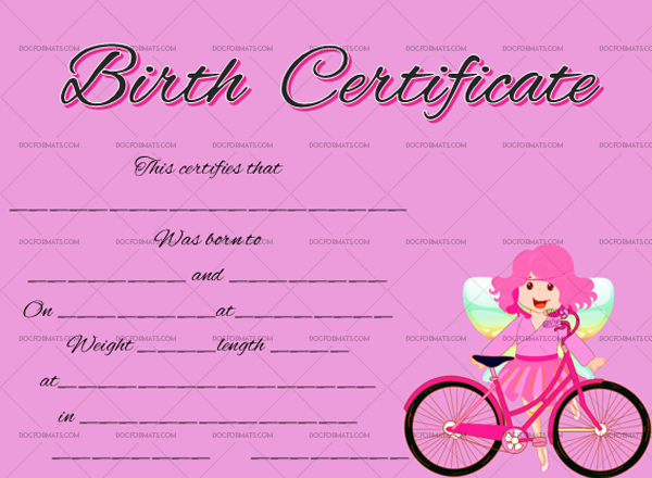 20 Birth Certificate Template Fairy Fillable Certificate #4371