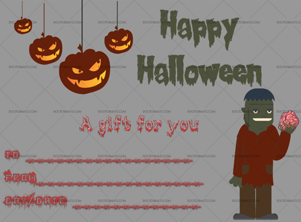 20 Halloween Gift Certificate Zombie Fillable Gift Voucher #1042