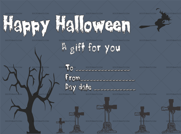 21 Halloween Gift Certificate Witch Night Printable Gift Voucher #1043
