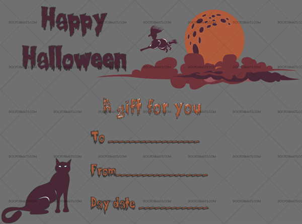 22 Halloween Gift Certificate Red Clouds Printable and Editable #1044