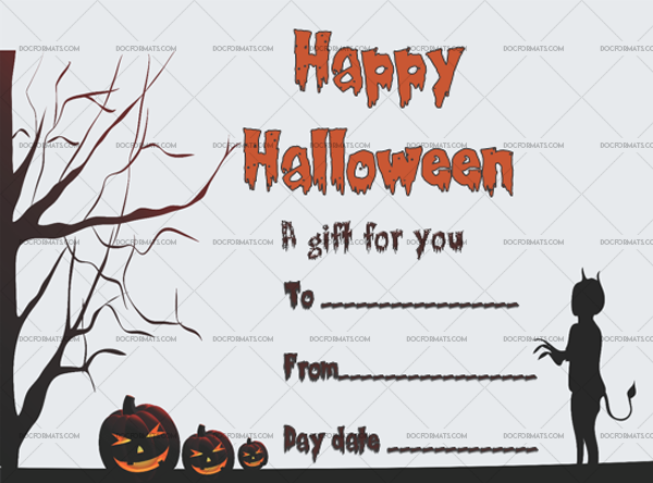 23 Halloween Gift Certificate Walking Cat Printable Gift Voucher #1045