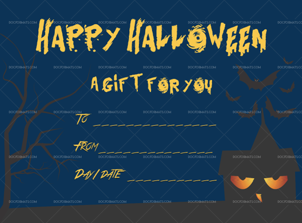 24 Halloween Gift Certificate Haunted Editable Gift Voucher #1046
