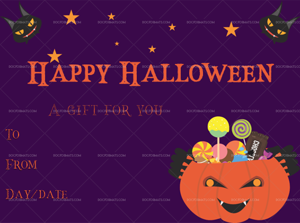 26 Halloween Gift Certificate Treat Fillable Gift Voucher #1048