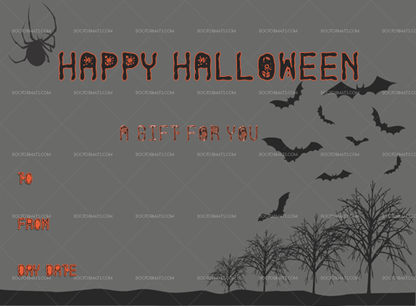 27 Halloween Gift Certificate Spider Customize in Word #1049