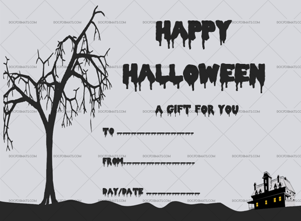 28 Halloween Gift Certificate Scary Printable Gift Voucher #1050