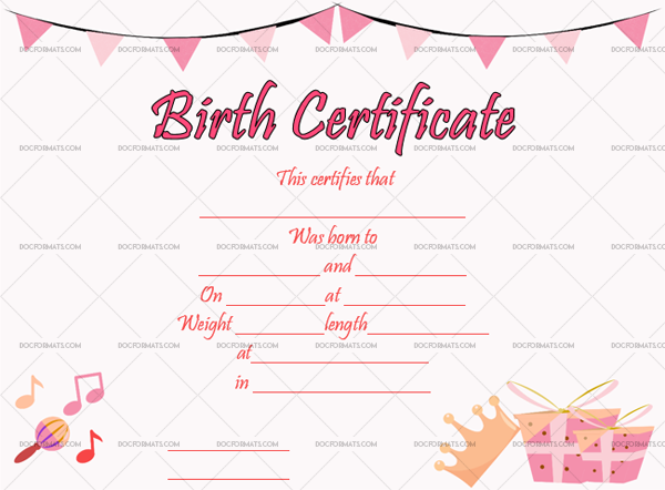 3 Birth Certificate Template Princess Blank Template #4354
