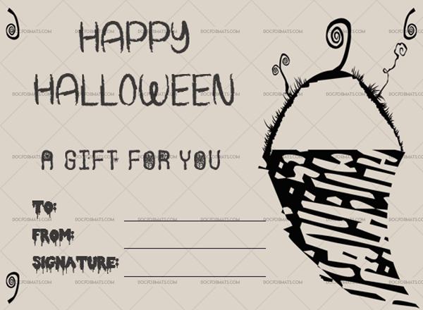 3 Halloween Gift Certificate Snowsword Printable Gift Voucher #1025
