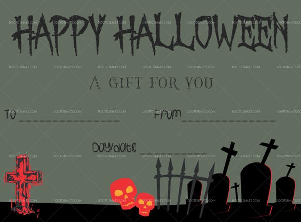 32 Halloween Gift Certificate Graves Blank Gift Voucher #1054