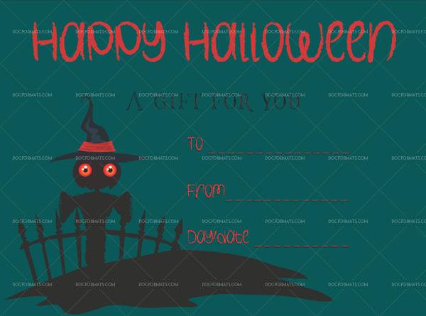 33 Halloween Gift Certificate Spooky Fillable Gift Voucher #1055