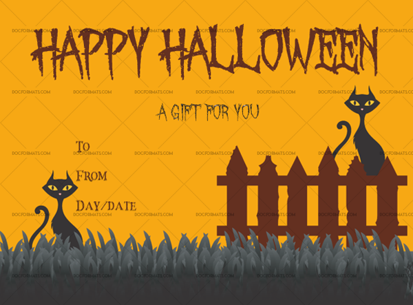 34 Halloween Gift Certificate October Customize in Word #1056