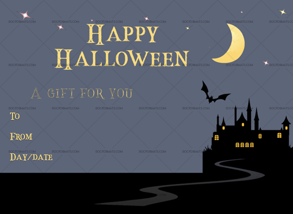 35 Halloween Gift Certificate Night Chilling Printable Gift Voucher #1057