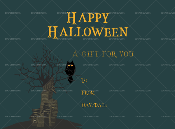36 Halloween Gift Certificate Dark Printable and Editable #1058