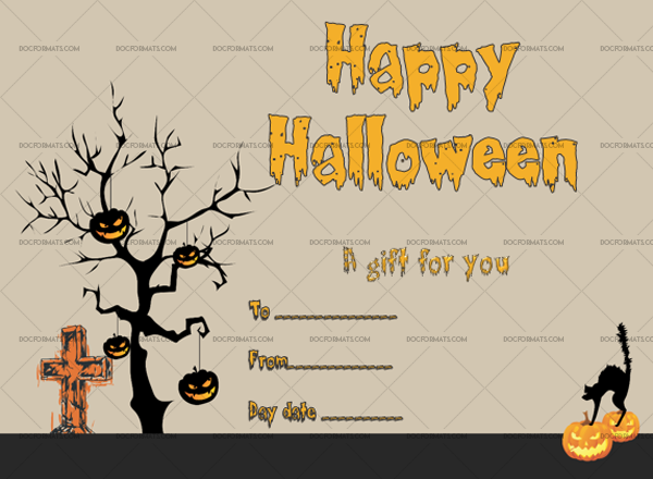 37 Halloween Gift Certificate Ghastly Printable Gift Voucher #1059