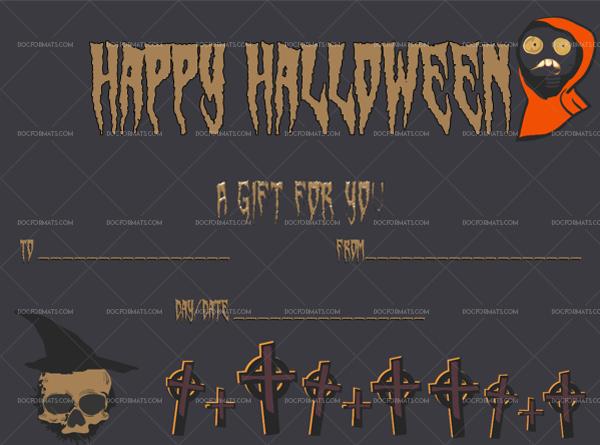39 Halloween Gift Certificate Swamp Blank Gift Voucher #1061