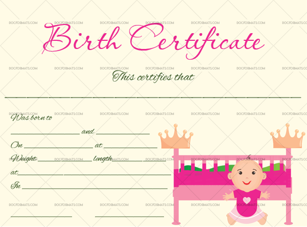 4 Birth Certificate Template Craddle Fillable Certificate #4355