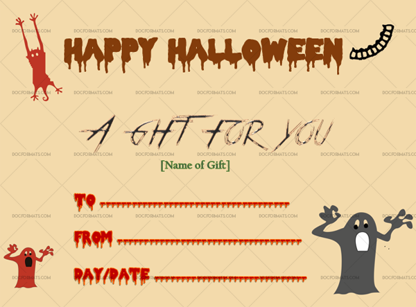 4 Halloween Gift Certificate Red Editable Gift Voucher #1026