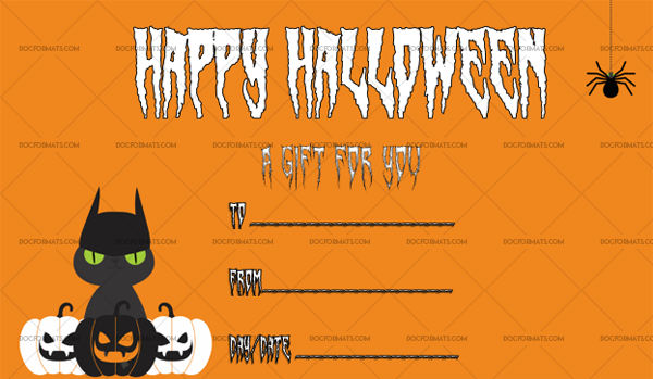 40 Halloween Gift Certificate Black Cat Fillable Gift Voucher #1062