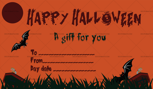 42 Halloween Gift Certificate Cemetery Printable Gift Voucher #1064