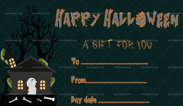 43 Halloween Gift Certificate Bone Printable and Editable #1065