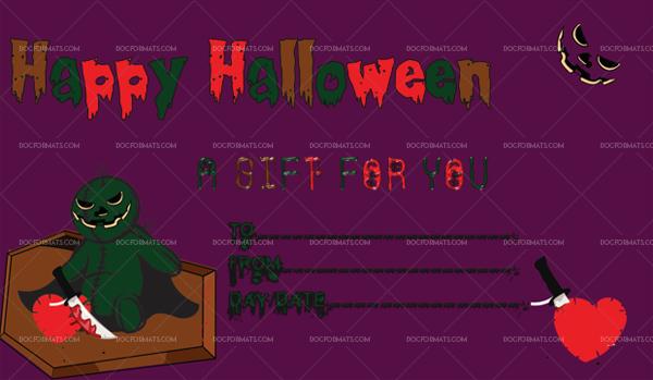 46 Halloween Gift Certificate clown Blank Gift Voucher #1068