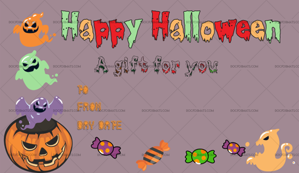 47 Halloween Gift Certificate Trick Fillable Gift Voucher #1069