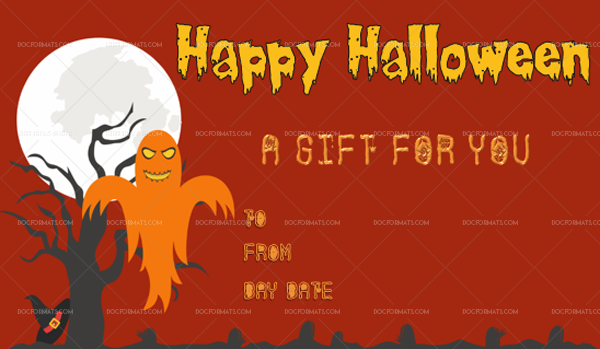 48 Halloween Gift Certificate Strantling Customize in Word #1070