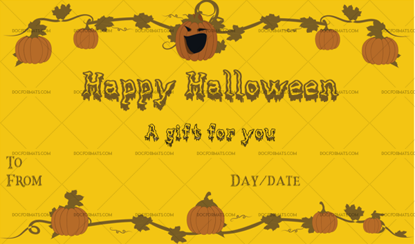 49 Halloween Gift Certificate Petrify Printable Gift Voucher #1071