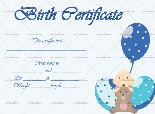 5 Birth Certificate Template Ballons Customize in Word #4336