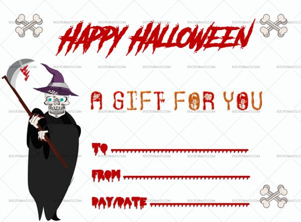 5 Halloween Gift Certificate Skelton Blank Gift Voucher #1027
