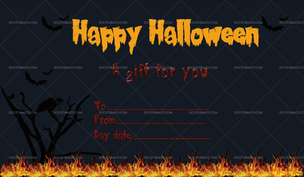 50 Halloween Gift Certificate Fire Printable and Editable #1072