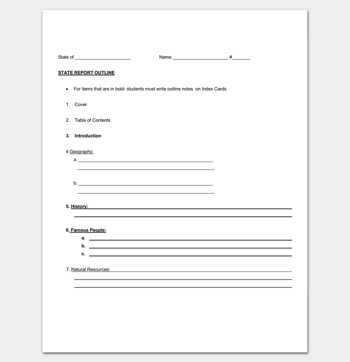 5th Grade State Report Outline Template