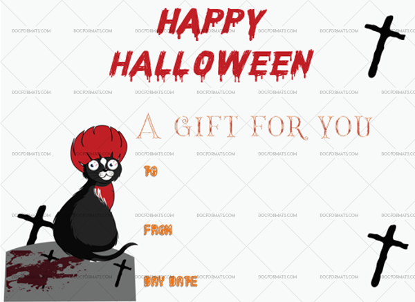 6 Halloween Gift Certificate Cat Fillable Gift Voucher #1028