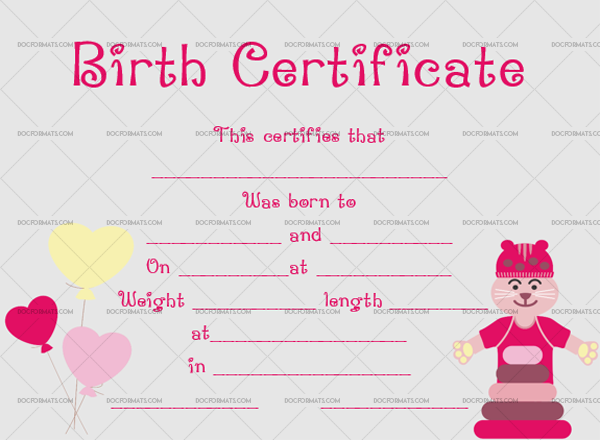 8 Birth Certificate Template Tom Blank Design #4359