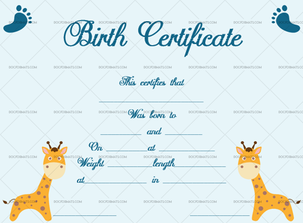 9 Birth Certificate Template Girrafe Printable and Editable #4340
