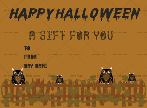 9 Halloween Gift Certificate Owl Printable and Editable #1031