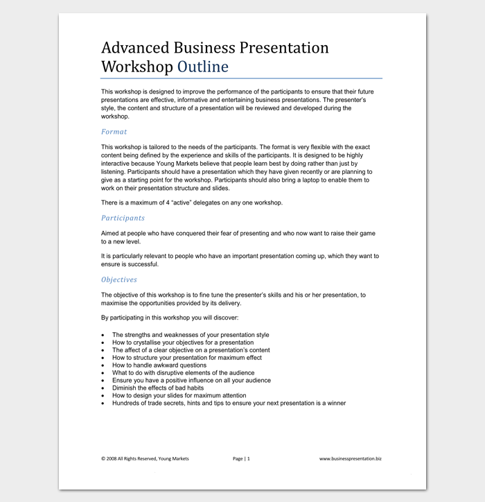 Business Presentation Outline Example 1